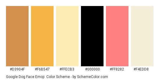 Google Dog Face Emoji - Color scheme palette thumbnail - #d3904f #f6b547 #ffecb3 #000000 #ff8282 #f4edd8