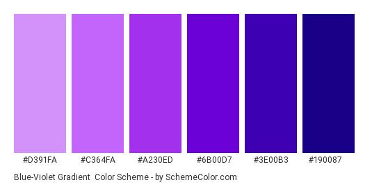 Blue-Violet Gradient - Color scheme palette thumbnail - #d391fa #c364fa #a230ed #6b00d7 #3e00b3 #190087