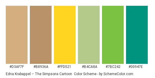 Edna Krabappel – The Simpsons Cartoon - Color scheme palette thumbnail - #d3af7f #b8936a #ffd521 #b4ca8a #7bc242 #00947e