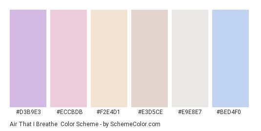 Air That I Breathe - Color scheme palette thumbnail - #d3b9e3 #eccbdb #f2e4d1 #e3d5ce #e9e8e7 #bed4f0