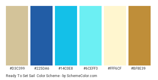 Ready to Set Sail - Color scheme palette thumbnail - #d3c399 #225da6 #14c0e8 #6ceff3 #fff6cf #bf8e39