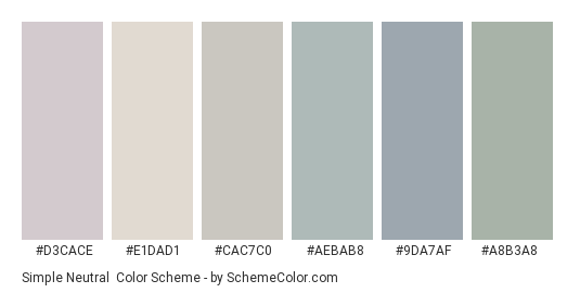 Simple Neutral - Color scheme palette thumbnail - #d3cace #e1dad1 #cac7c0 #aebab8 #9da7af #a8b3a8