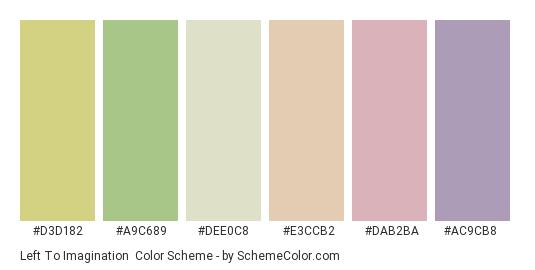 Left to Imagination - Color scheme palette thumbnail - #d3d182 #a9c689 #dee0c8 #e3ccb2 #dab2ba #ac9cb8
