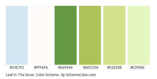 Leaf In The Snow - Color scheme palette thumbnail - #d3e7f2 #fffafa #669944 #adc258 #d2e08b #e2f6be