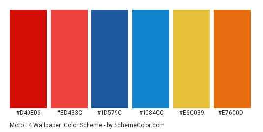 Moto E4 Wallpaper - Color scheme palette thumbnail - #d40e06 #ed433c #1d579c #1084cc #e6c039 #e76c0d