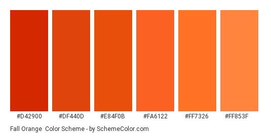 Fall Orange - Color scheme palette thumbnail - #d42900 #df440d #e84f0b #fa6122 #ff7326 #ff853f