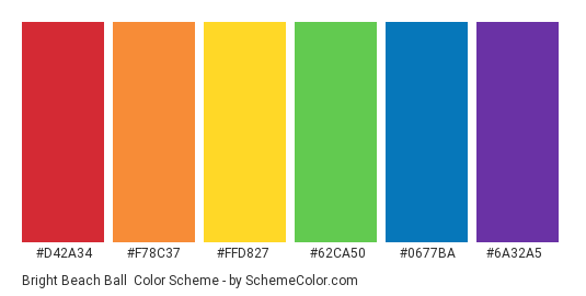 Bright Beach Ball - Color scheme palette thumbnail - #d42a34 #f78c37 #ffd827 #62ca50 #0677ba #6a32a5