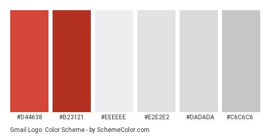 50443e42fb7ba Gmail Logo - Color scheme palette thumbnail -  d44638  b23121  eeeeee   e2e2e2
