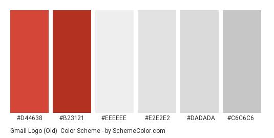 Gmail Logo (Old) - Color scheme palette thumbnail - #d44638 #b23121 #eeeeee #e2e2e2 #dadada #c6c6c6
