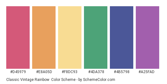 Classic Vintage Rainbow - Color scheme palette thumbnail - #d45979 #e8a05d #f8dc93 #4da378 #4b5798 #a25fad