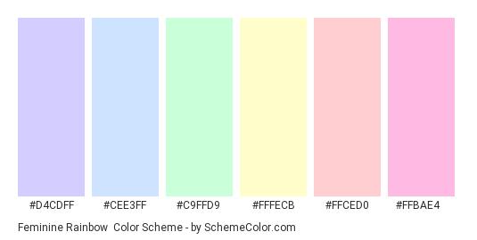 Feminine Rainbow - Color scheme palette thumbnail - #d4cdff #cee3ff #c9ffd9 #fffecb #ffced0 #ffbae4