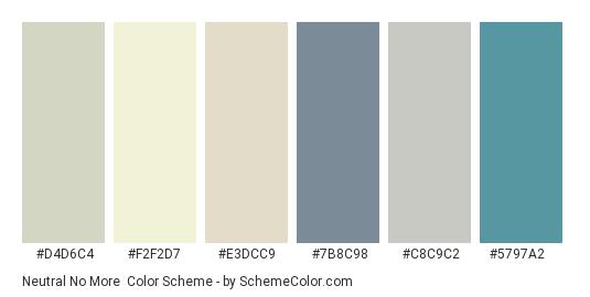 Neutral No More - Color scheme palette thumbnail - #d4d6c4 #f2f2d7 #e3dcc9 #7b8c98 #c8c9c2 #5797a2