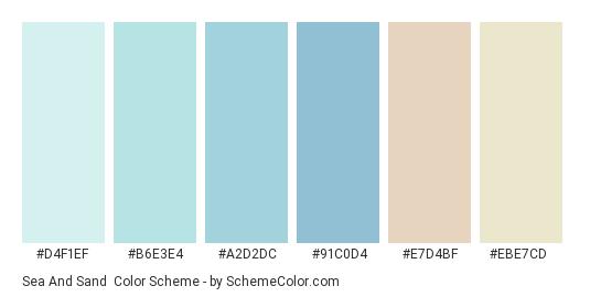 Sea and Sand - Color scheme palette thumbnail - #d4f1ef #b6e3e4 #a2d2dc #91c0d4 #e7d4bf #ebe7cd
