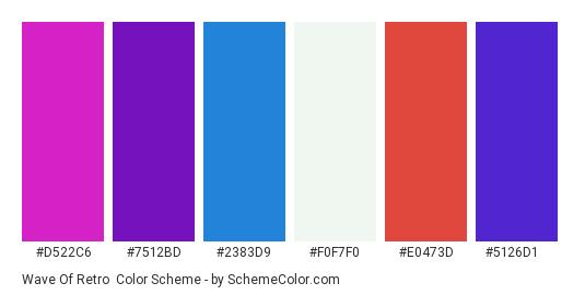 Wave of Retro - Color scheme palette thumbnail - #d522c6 #7512bd #2383d9 #f0f7f0 #e0473d #5126d1