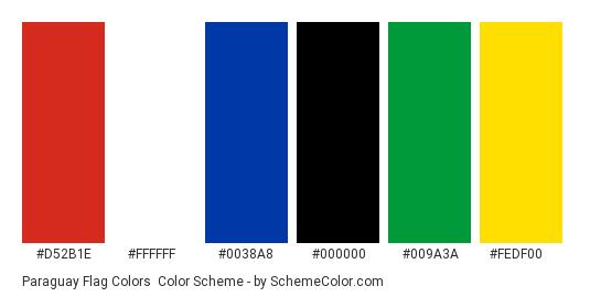 Paraguay Flag Colors - Color scheme palette thumbnail - #d52b1e #ffffff #0038a8 #000000 #009a3a #fedf00