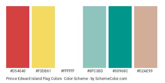 Prince Edward Island Flag Colors - Color scheme palette thumbnail - #d54040 #f3db61 #ffffff #8fc3bd #00968c #d2ae99
