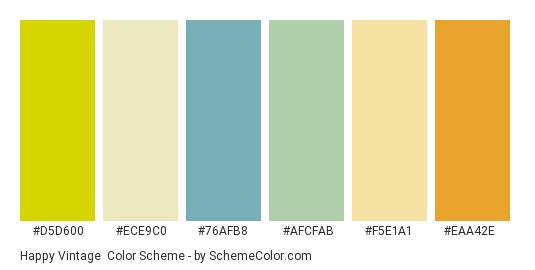 Happy Vintage - Color scheme palette thumbnail - #d5d600 #ece9c0 #76afb8 #afcfab #f5e1a1 #eaa42e