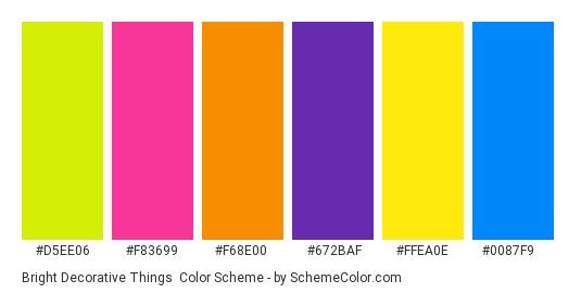 Bright Decorative Things - Color scheme palette thumbnail - #d5ee06 #f83699 #f68e00 #672baf #ffea0e #0087f9