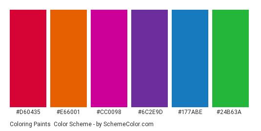 Coloring Paints - Color scheme palette thumbnail - #d60435 #e66001 #cc0098 #6c2e9d #177abe #24b63a