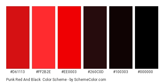 Punk Red and Black - Color scheme palette thumbnail - #d61113 #ff2b2e #ee0003 #260c0d #100303 #000000