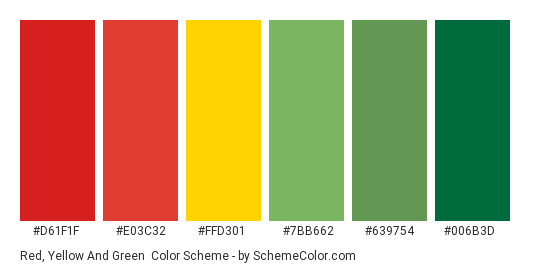 Red, Yellow and Green - Color scheme palette thumbnail - #d61f1f #E03C32 #FFD301 #7BB662 #639754 #006B3D