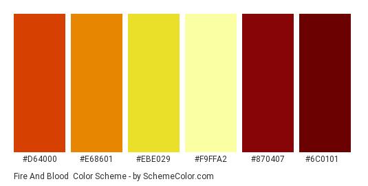 Fire and Blood - Color scheme palette thumbnail - #d64000 #e68601 #ebe029 #f9ffa2 #870407 #6c0101