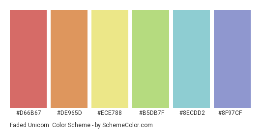 Faded Unicorn - Color scheme palette thumbnail - #d66b67 #de965d #ece788 #b5db7f #8ecdd2 #8f97cf