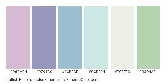Dullish Pastels - Color scheme palette thumbnail - #d6bad4 #9796bc #9cbfcf #cce8e4 #ecefe3 #b3d4ae