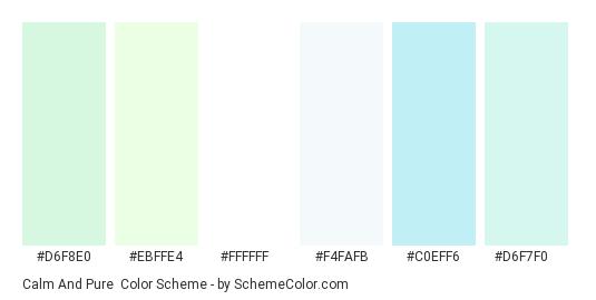 Calm and Pure - Color scheme palette thumbnail - #d6f8e0 #ebffe4 #ffffff #f4fafb #c0eff6 #d6f7f0
