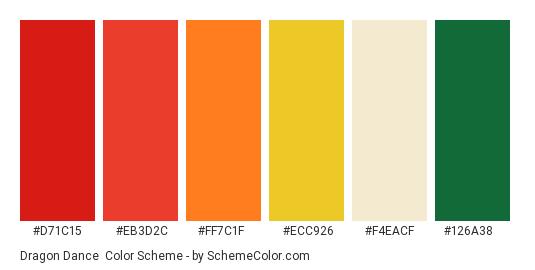 Dragon Dance - Color scheme palette thumbnail - #d71c15 #eb3d2c #ff7c1f #ecc926 #f4eacf #126a38