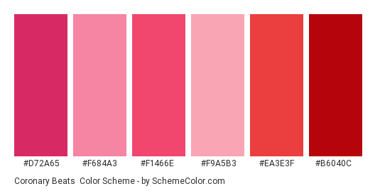 Coronary Beats - Color scheme palette thumbnail - #d72a65 #f684a3 #f1466e #f9a5b3 #ea3e3f #b6040c