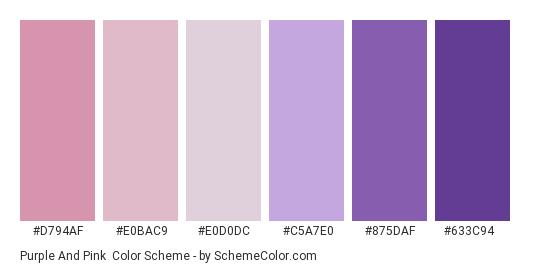 Purple and Pink - Color scheme palette thumbnail - #d794af #e0bac9 #e0d0dc #c5a7e0 #875daf #633c94