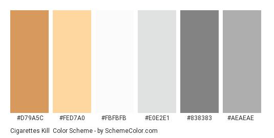 Cigarettes Kill - Color scheme palette thumbnail - #d79a5c #fed7a0 #fbfbfb #e0e2e1 #838383 #aeaeae