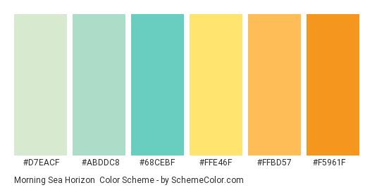 Morning Sea Horizon - Color scheme palette thumbnail - #d7eacf #abddc8 #68cebf #ffe46f #ffbd57 #f5961f