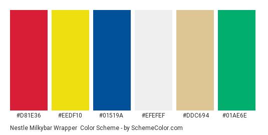 Nestle Milkybar Wrapper - Color scheme palette thumbnail - #d81e36 #eedf10 #01519a #efefef #ddc694 #01ae6e