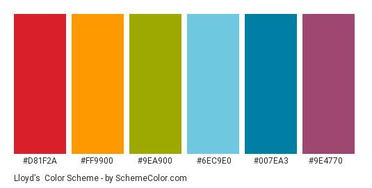 Lloyd's - Color scheme palette thumbnail - #d81f2a #ff9900 #9ea900 #6ec9e0 #007ea3 #9e4770