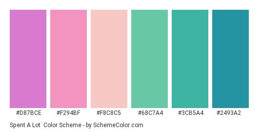 Spent a Lot - Color scheme palette thumbnail - #d87bce #f294bf #f8c8c5 #68c7a4 #3cb5a4 #2493a2