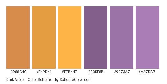 Dark Violet & Orange Pastels - Color scheme palette thumbnail - #d88c4c #e49d41 #feb447 #835f8b #9c73a7 #aa7db7