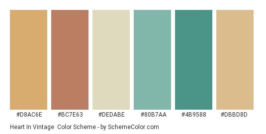 Heart in Vintage - Color scheme palette thumbnail - #d8ac6e #bc7e63 #dedabe #80b7aa #4b9588 #dbbd8d