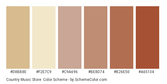 Country Music Store - Color scheme palette thumbnail - #d8bb8e #f2e7c9 #c9a696 #be8d74 #b26e50 #a65134