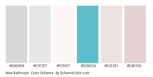 New Bathroom - Color scheme palette thumbnail - #d8d8d8 #e7e7e7 #fcf6f7 #5cbeca #ece3e1 #e4d1d0