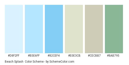 Beach Splash - Color scheme palette thumbnail - #d8f2ff #b5e6ff #82cef4 #e0e3cb #cecbb7 #8ab795