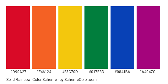 Solid Rainbow - Color scheme palette thumbnail - #d90a27 #f46124 #f3c70d #017e3d #0841b6 #a4047c