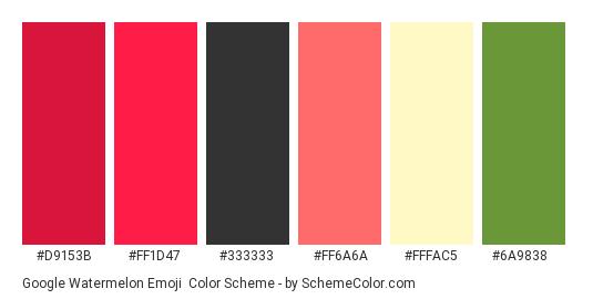 Google Watermelon Emoji - Color scheme palette thumbnail - #d9153b #ff1d47 #333333 #ff6a6a #fffac5 #6a9838