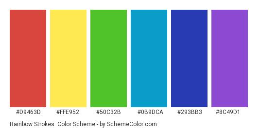Rainbow Strokes - Color scheme palette thumbnail - #d9463d #ffe952 #50c32b #0b9dca #293bb3 #8c49d1