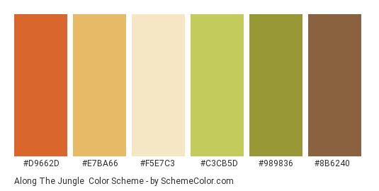 Along the Jungle - Color scheme palette thumbnail - #d9662d #e7ba66 #f5e7c3 #c3cb5d #989836 #8b6240