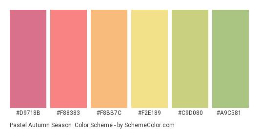 Pastel Autumn Season - Color scheme palette thumbnail - #d9718b #f88383 #f8bb7c #f2e189 #c9d080 #a9c581