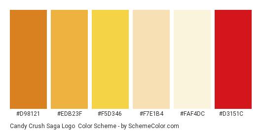 Candy Crush Saga Logo - Color scheme palette thumbnail - #d98121 #edb23f #f5d346 #f7e1b4 #faf4dc #d3151c