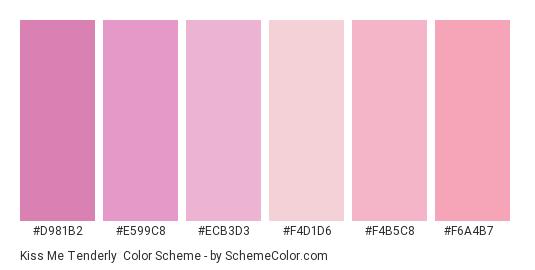 Kiss Me Tenderly - Color scheme palette thumbnail - #d981b2 #e599c8 #ecb3d3 #f4d1d6 #f4b5c8 #f6a4b7