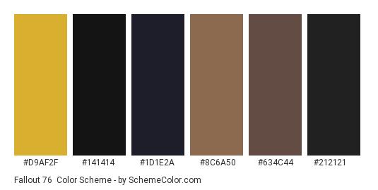 Fallout 76 - Color scheme palette thumbnail - #d9af2f #141414 #1d1e2a #8c6a50 #634c44 #212121